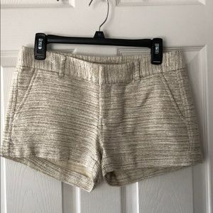 Banana Republic gold and cream tweed shorts